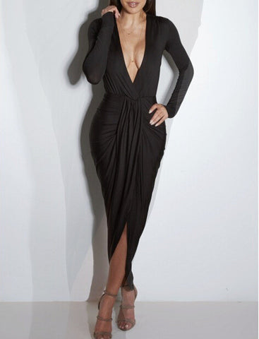 Deep V-neck Irregular Split Ankle Length Club Dress
