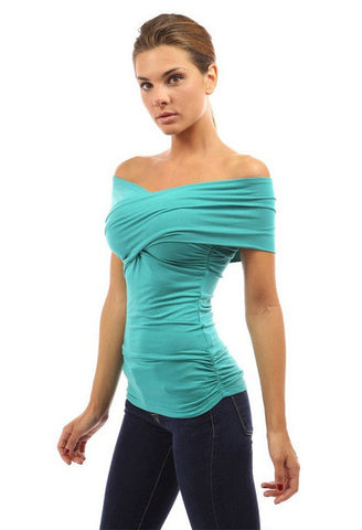 Strapless Cross Over Sheath Pure Color Sexy Blouse
