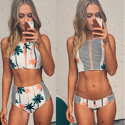 High Waist Flower Print Zipper Bikini Set Swimwear - Meet Yours Fashion - 1