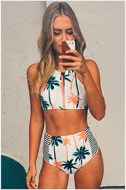 High Waist Flower Print Zipper Bikini Set Swimwear - Meet Yours Fashion - 2
