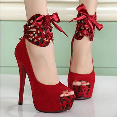 Ankle Wrap Straps Peep Toe Platform Stiletto High Heels Sandals