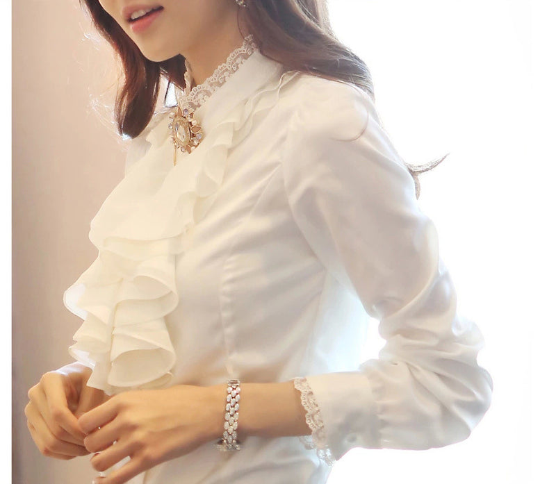 Lace Patchwork Chiffon Falbala OL Long Sleeves Blouse - Meet Yours Fashion - 3