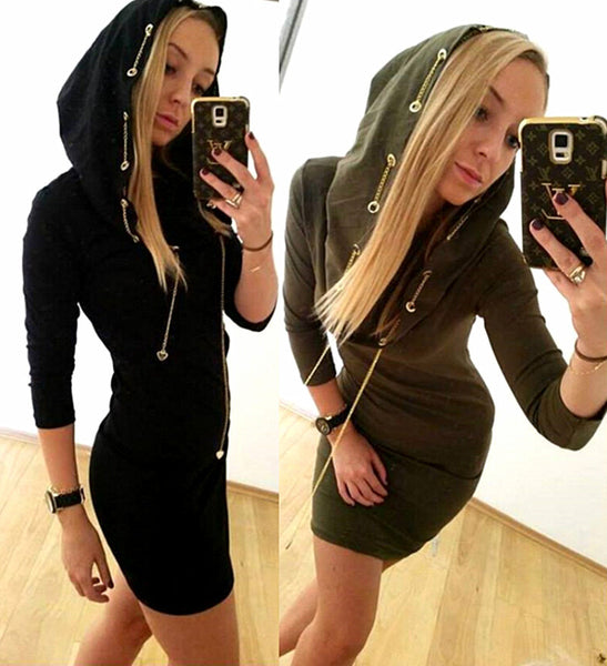 Chain Bodycon Long Sleeves Slim Sexy Hooded Dress