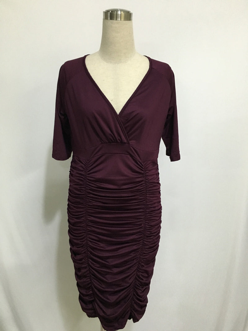 Plus Size Pure Color Drape Wrap Knee-length Dress