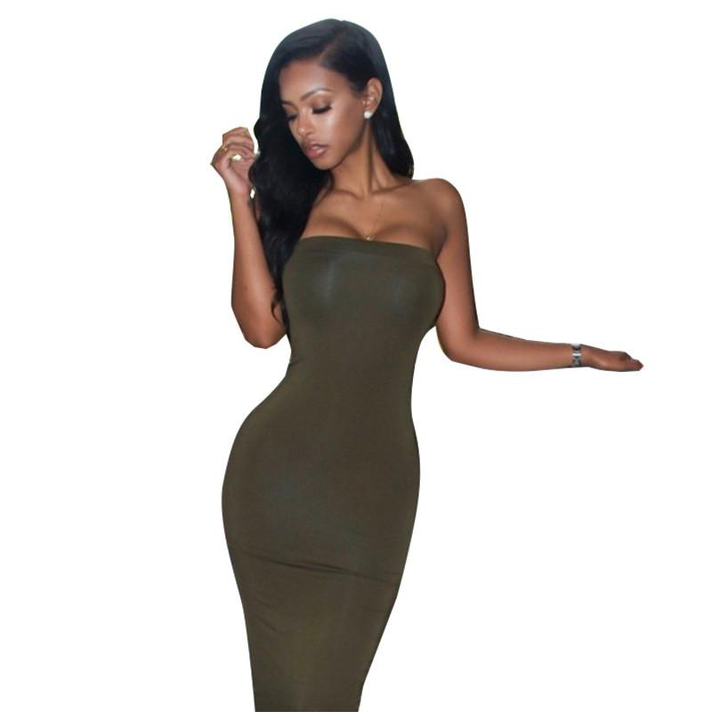 Off Shoulder Sleeveless Bodycon Sheath Knee-length Dress - Meet Yours Fashion - 6