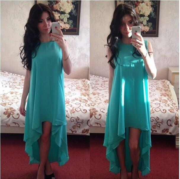 Solid Color Chiffon Sexy Sleeveless Irregular Scoop Dress - Meet Yours Fashion - 4