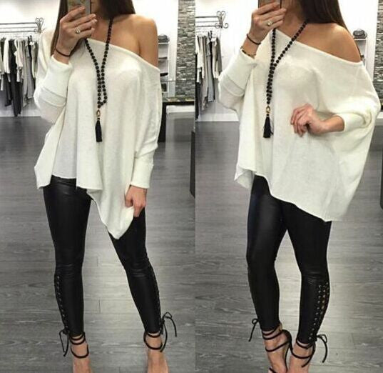 Sexy Scoop Long Sleeve Pure Color Casual Loose Blouse