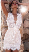 White Deep V-neck Sleeveless Lace Short Dress - Meet Yours Fashion - 2