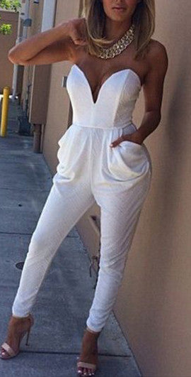 V Neck Sleeveless Bodycon Jumpsuit Romper - Meet Yours Fashion - 3