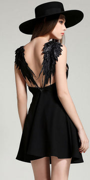 Spaghetti Strap Lace Wings Backless Sleeveless Short Dress - Meet Yours Fashion - 1
