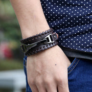 Punk Style Braided Leather Bracelet