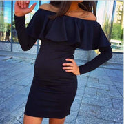 Off Shoulder Long Sleeve Boat Neck Short Dress