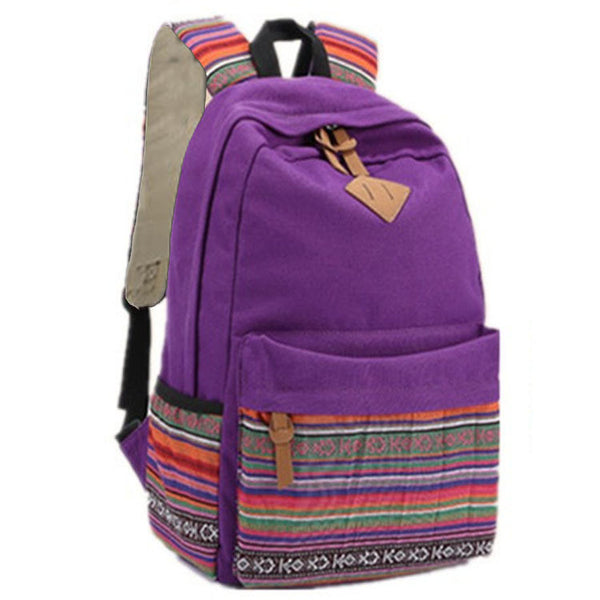 Retro Embroidery Canvas Backpack School Bag