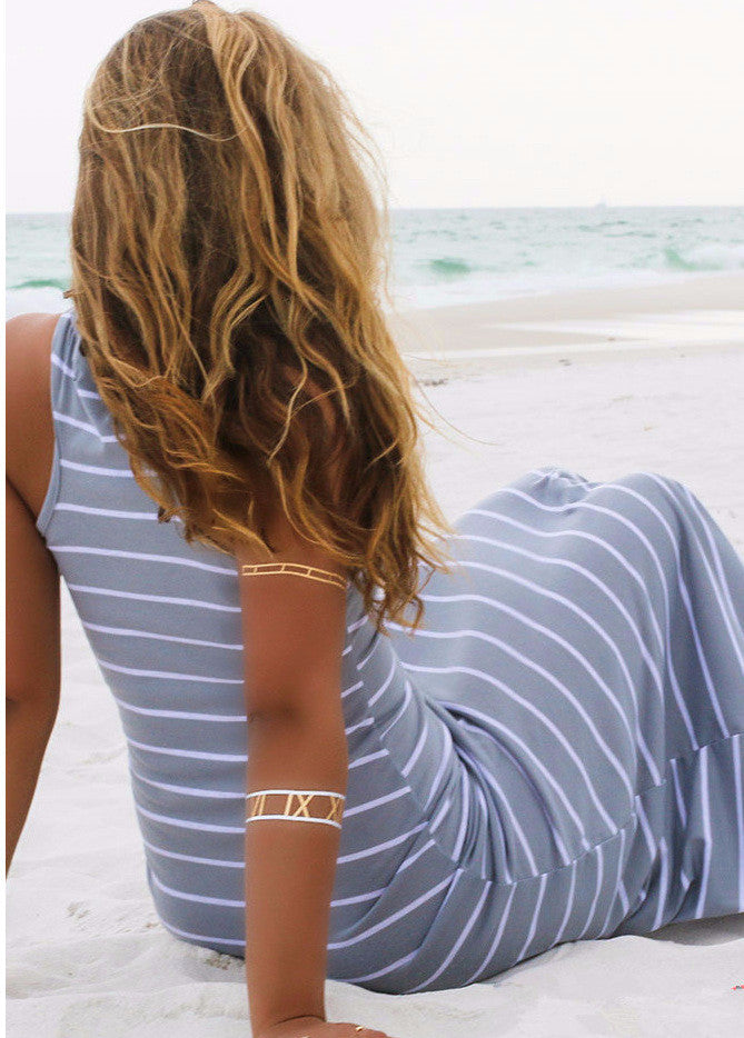 Striped Sleeveless Scoop Loose Long Beach Dress - Meet Yours Fashion - 7