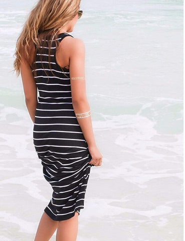 Striped Sleeveless Scoop Loose Long Beach Dress - Meet Yours Fashion - 6