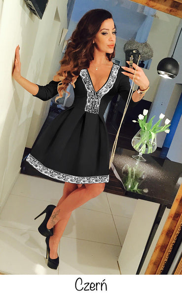 Floral V-neck 3/4 Sleeve Lace Splicing Skater Short Pleated Dress - MeetYoursFashion - 5