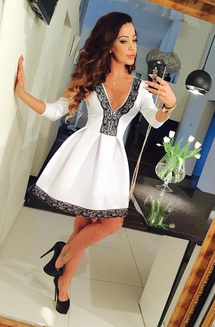 Floral V-neck 3/4 Sleeve Lace Splicing Skater Short Pleated Dress - MeetYoursFashion - 3