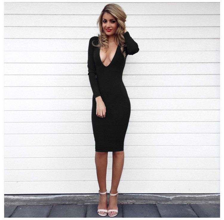 Sexy V-neck Long Sleeve Bodycon Knee-length Dress