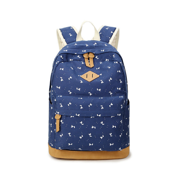 Giraffe Print Simple Fashion Canvas School Backpack - Meet Yours Fashion - 2