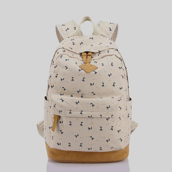 Giraffe Print Simple Fashion Canvas School Backpack - Meet Yours Fashion - 5