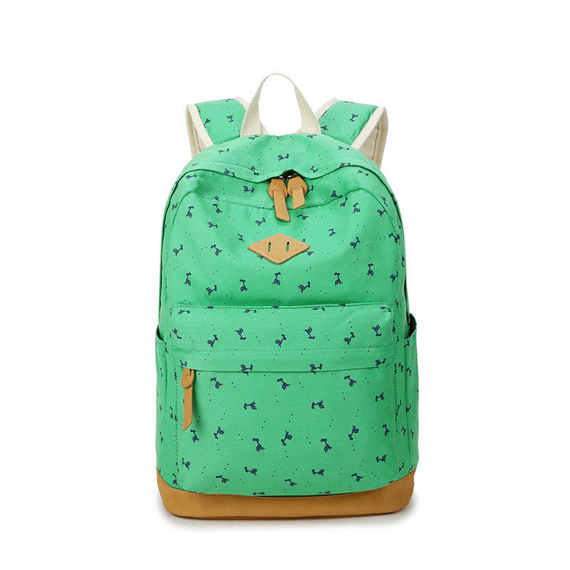 Giraffe Print Simple Fashion Canvas School Backpack - Meet Yours Fashion - 1