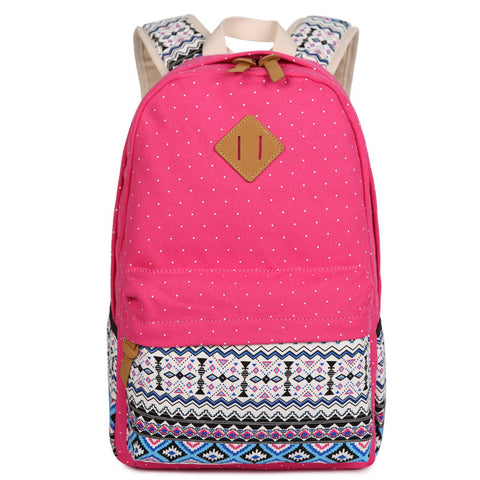 Polka Dot Floral Print Classic Backpack School Travel Bag - Meet Yours Fashion - 6