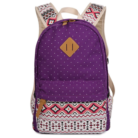 Polka Dot Floral Print Classic Backpack School Travel Bag - Meet Yours Fashion - 1
