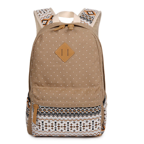 Polka Dot Floral Print Classic Backpack School Travel Bag - Meet Yours Fashion - 4