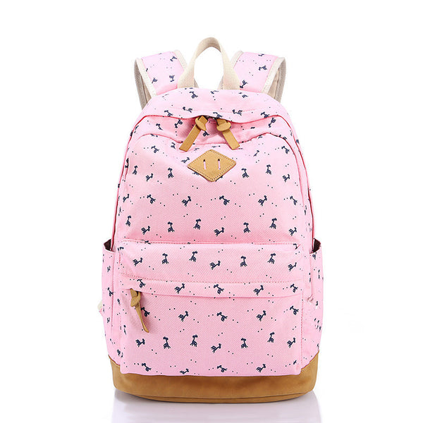 Giraffe Print Simple Fashion Canvas School Backpack - Meet Yours Fashion - 3