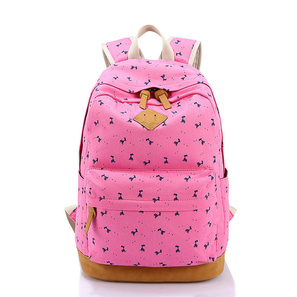 Giraffe Print Simple Fashion Canvas School Backpack - Meet Yours Fashion - 4