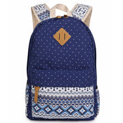 Polka Dot Floral Print Classic Backpack School Travel Bag - Meet Yours Fashion - 2