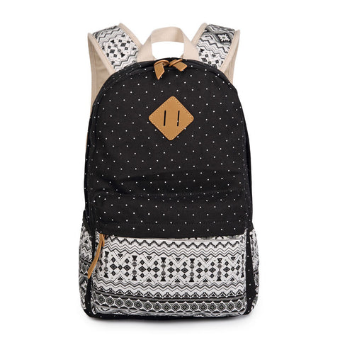 Polka Dot Floral Print Classic Backpack School Travel Bag - Meet Yours Fashion - 3