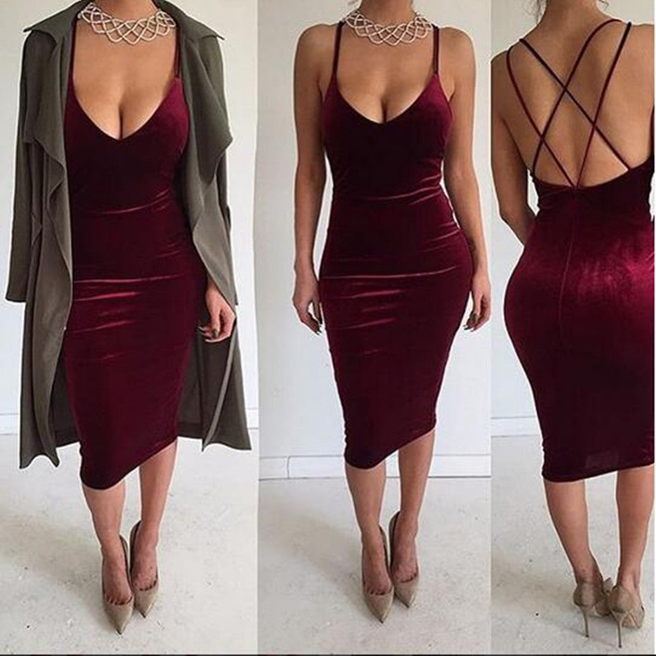 Deep V-neck Sleeveless Backless Sexy Club Bodycon Skinny Pleuche Dress