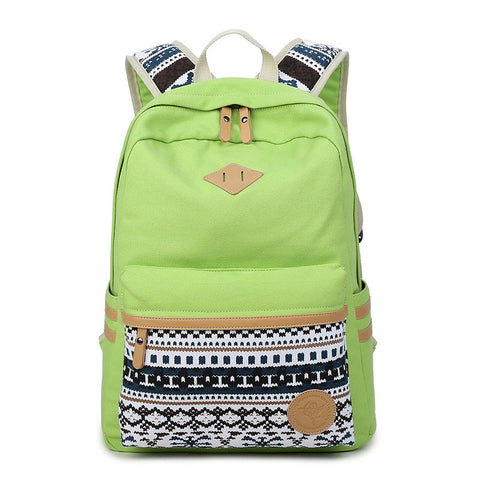 Flower Print Casual Backpack Canvas School Travel Bag - Meet Yours Fashion - 3