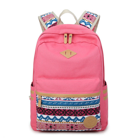 Flower Print Casual Backpack Canvas School Travel Bag - Meet Yours Fashion - 6