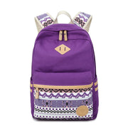 Flower Print Casual Backpack Canvas School Travel Bag - Meet Yours Fashion - 1