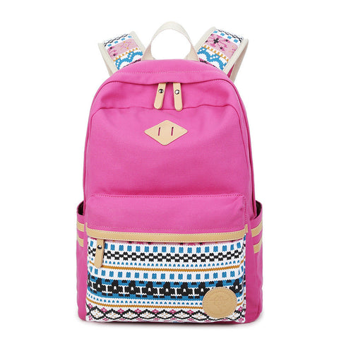 Flower Print Casual Backpack Canvas School Travel Bag - Meet Yours Fashion - 8