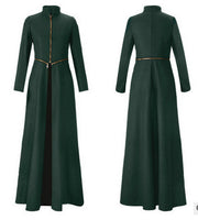 Beautiful High Neck Slim Super Long Coat