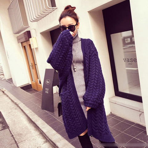 Batwing Cable Dropped Shoulder Long Split Solid Sweater - Meet Yours Fashion - 4