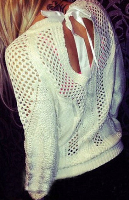 Bow Tie Hollow Cable Pullover Pure Knit Sweater - Meet Yours Fashion - 1