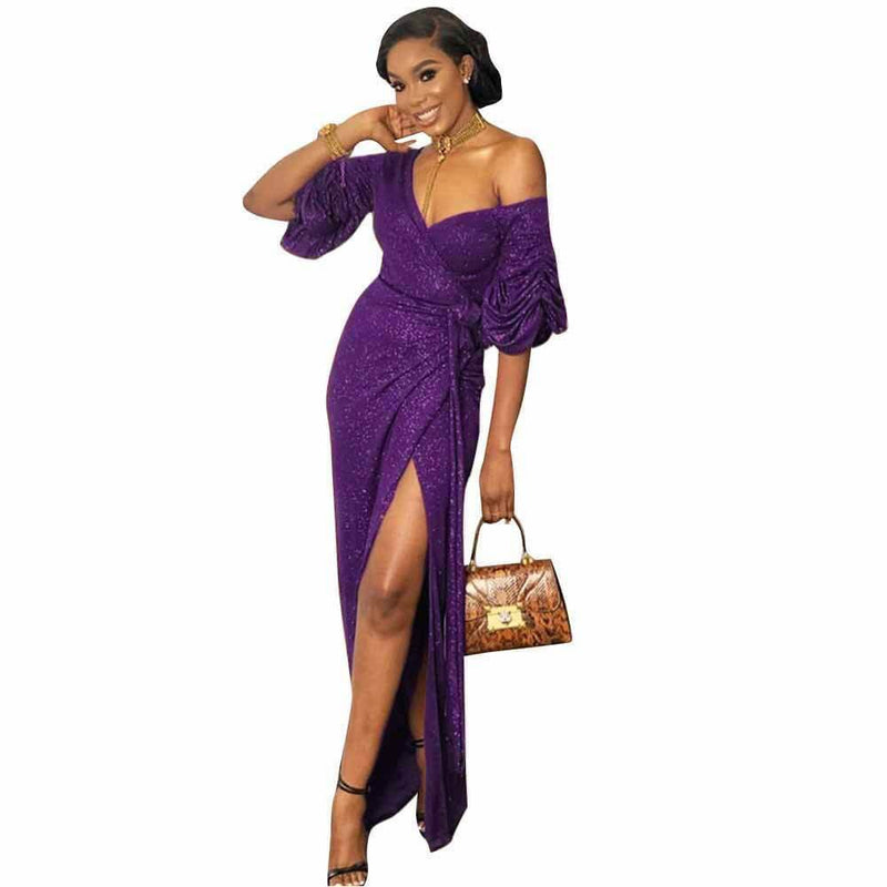 Sparkle V Neck Maxi Slits Dress