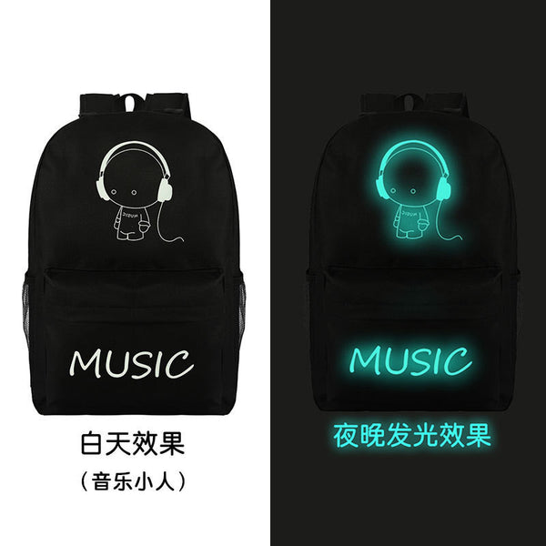 Noctilucent Canvas Chic Backpack Black School Bag - Meet Yours Fashion - 5