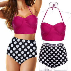 Padded High-waist Push Up Polka Dot Bikini - MeetYoursFashion - 1