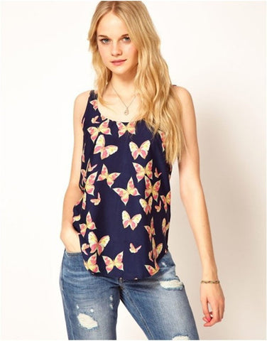 Scoop Sleeveless Flower Print Chiffon Straight Blouse - Meet Yours Fashion - 4