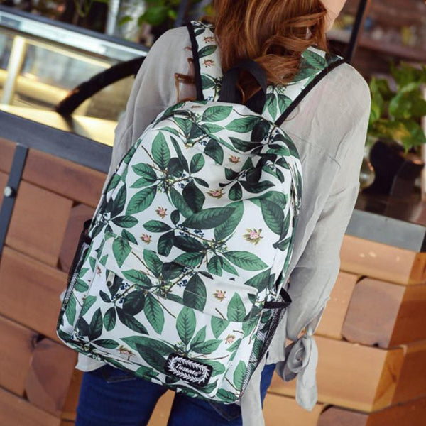Green Leaves Print Fashion School Backpack - Meet Yours Fashion - 5