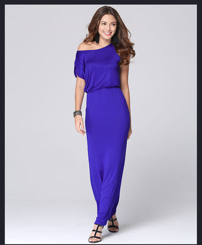 Pure Color O-neck Short Sleeve Long Dress