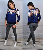 Three Colors Feather Flower Print Scoop Long Sleeves Sweatshirt