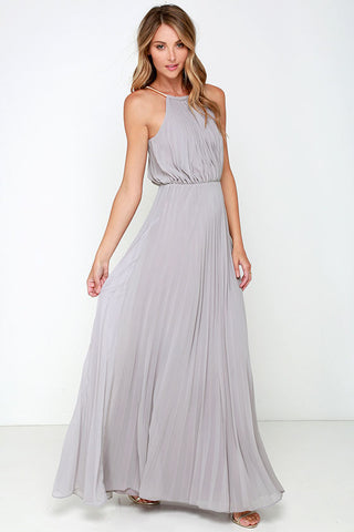 Formal Bear Shoulder Pleated Long Chiffon Maxi Party Prom Dress