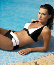 Contrast Color Patchwork Cross Hollow Out V-neck Bikini - Meet Yours Fashion - 10