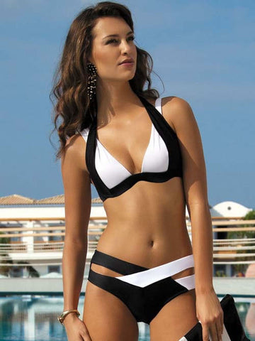 Contrast Color Patchwork Cross Hollow Out V-neck Bikini - Meet Yours Fashion - 2